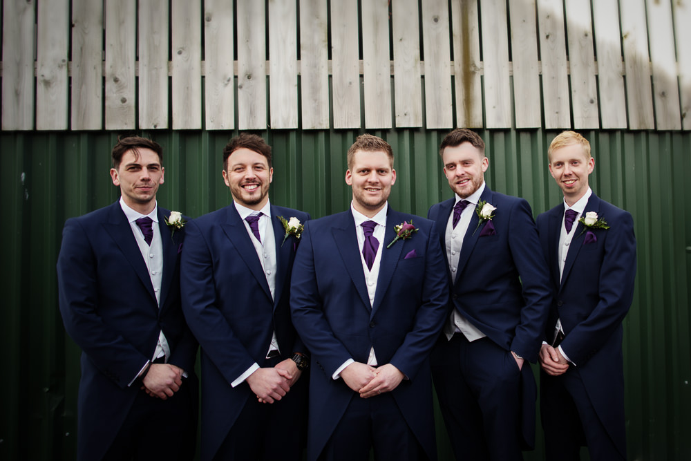 Grooms men at a Sandhole Oak barn wedding