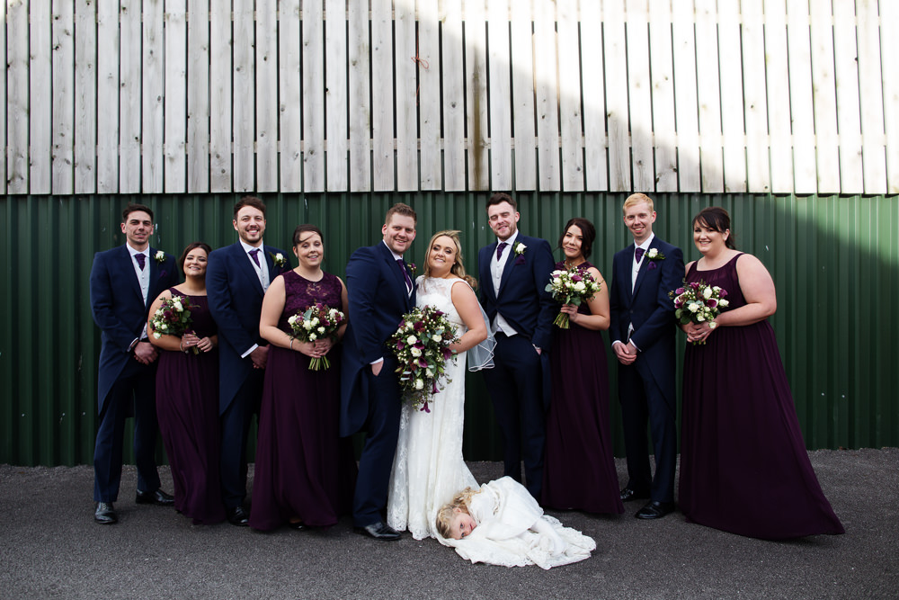 Bridal party at a Sandhole Oak barn wedding