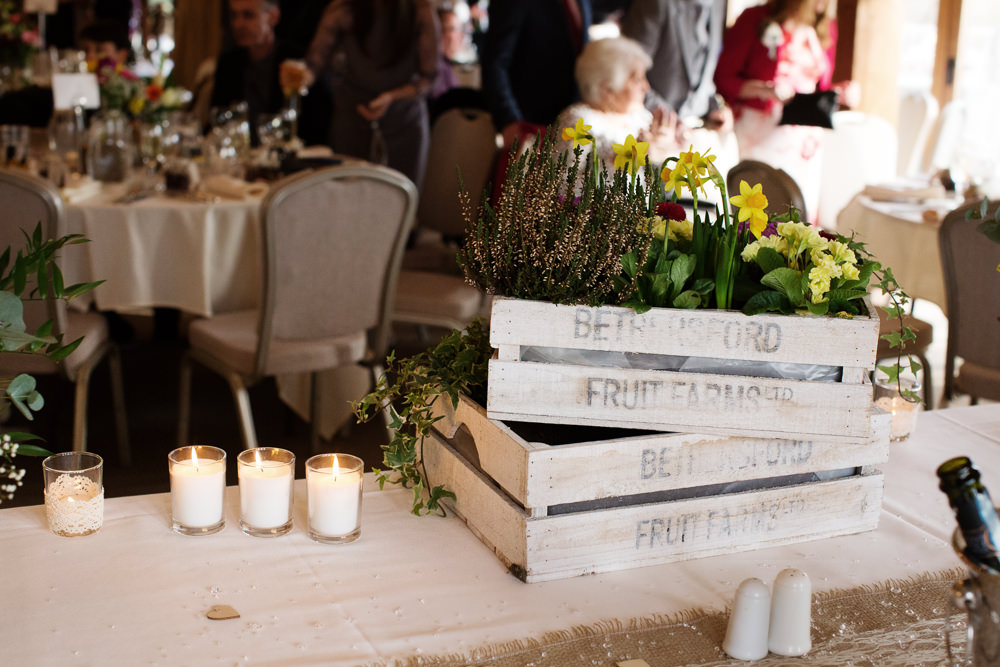Fruit boxes at a Sandhole Oak barn wedding