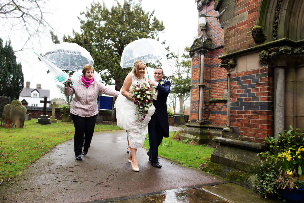Bride arriving a St Michaels Haslington church wedding