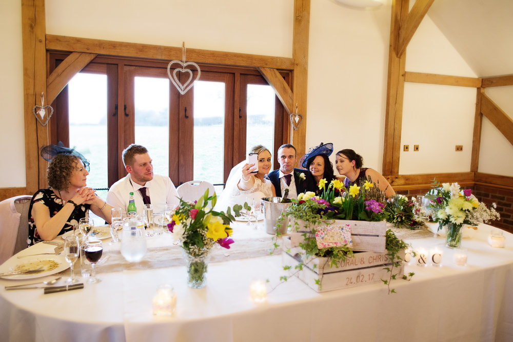 Top table Sandhole Oak barn wedding