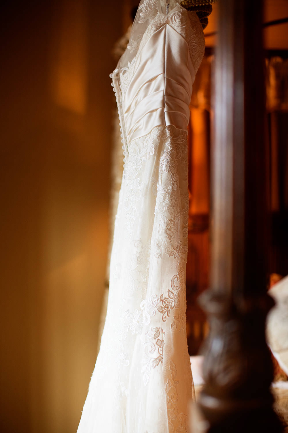 Wedding dress details at a Haslington Hall wedding