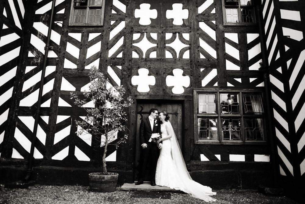 Bride and groom at a Haslington Hall wedding