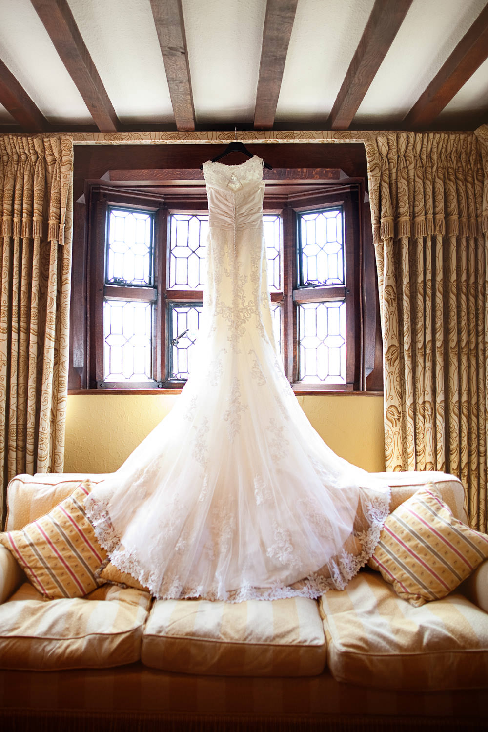 Wedding dress at a Haslington Hall wedding