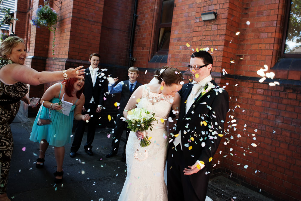 Confetti at a Haslington Hall wedding