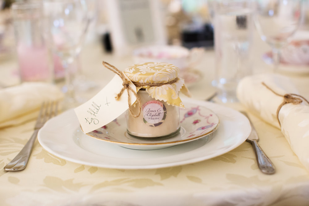 Table decorations at a Gawsworth hall wedding in Macclesfield
