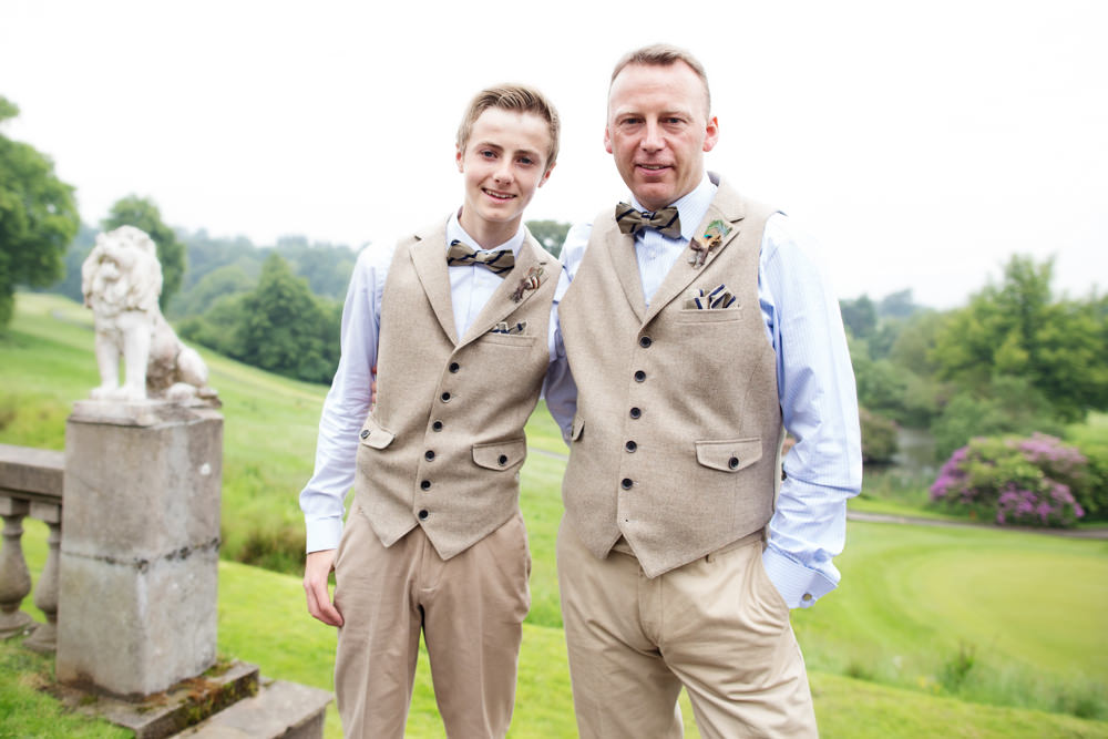 Groom and son at a Gawsworth hall wedding in Macclesfield