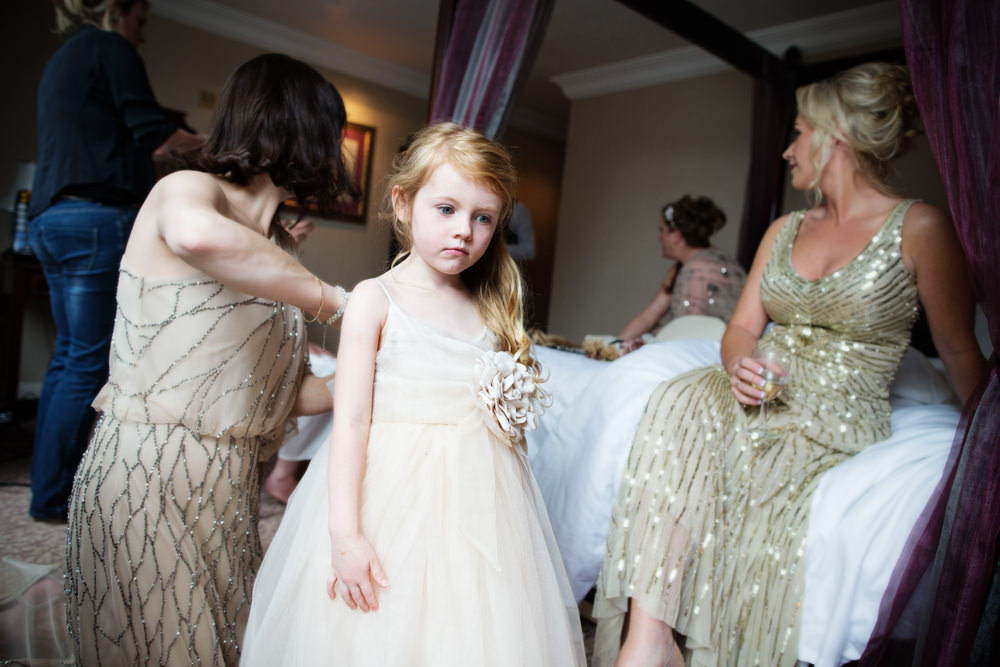 Flower girl at a Gawsworth hall wedding in Macclesfield