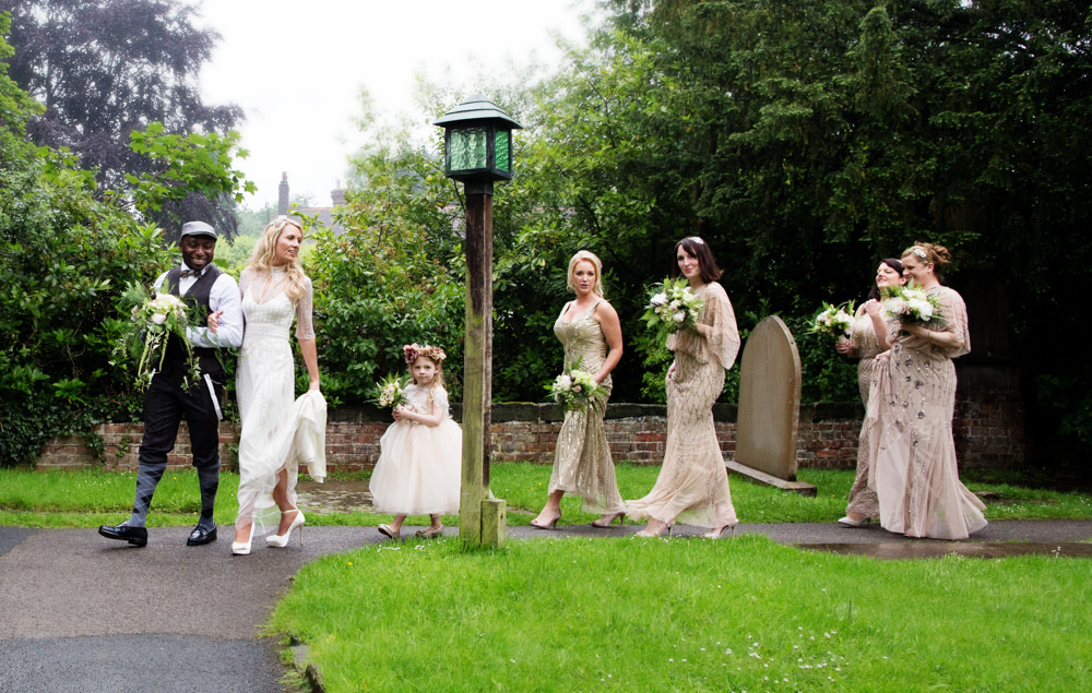 Bridal party at Gawsworth church wedding