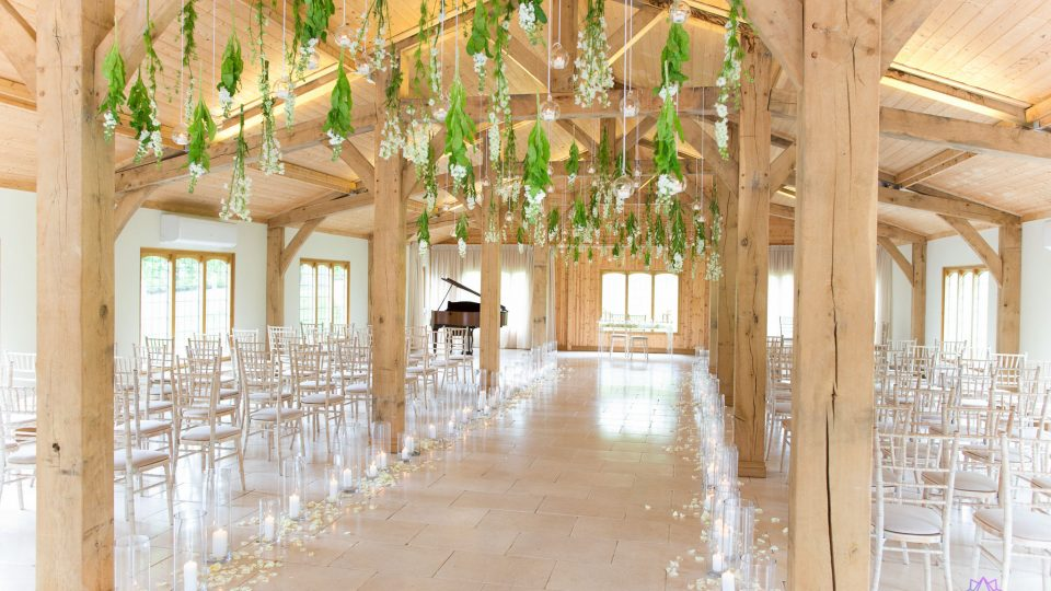 Flowers by Red Floral architecture at a wedding at Coleshaw Hall in Cheshire